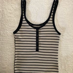 ABERCROMBIE & FITCH Stripe Henley Tank Top, Snaps